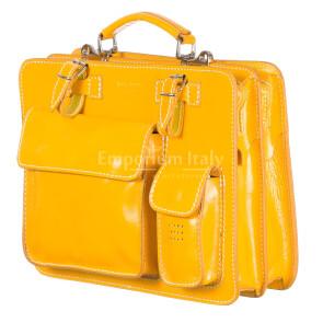 Borsa in vera pelle MAESTRI mod. ALEX maxi colore GIALLO Made in Italy.