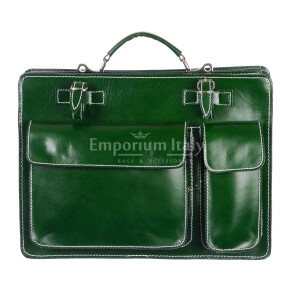 Borsa in vera pelle MAESTRI mod. ALEX medium colore VERDE Made in Italy.