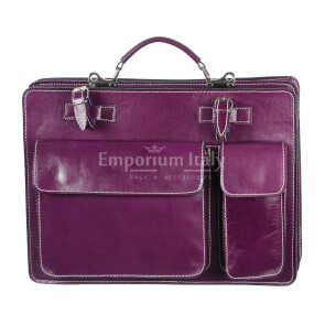 Borsa in vera pelle MAESTRI mod. ALEX medium colore VIOLA Made in Italy