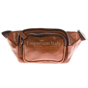 Mens belt pack bag buffered real leather, brown. mod. LUCAS MAXI