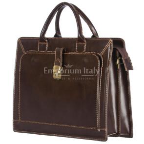 Cartella ufficio / lavoro in vera pelle MAESTRI mod. PATRIZIO colore TESTA DI MORO Made in Italy.
