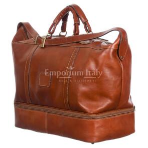 DANUBIO: borsa da viaggio in cuoio, colore: MARRONE, Made in Italy