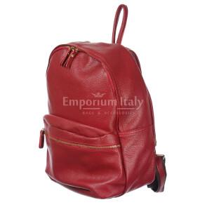 Borsa zaino in vera pelle DELIA REI mod. BERNINA colore ROSSO Made in Italy.