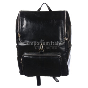 Borsa zaino in vera pelle MAESTRI mod. EVEREST colore NERO Made in Italy.