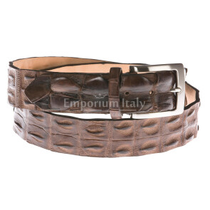 Cintura uomo in vera pelle coccodrillo ELIO ZAGATO mod. KIEV colore TESTA DI MORO Made in Italy
