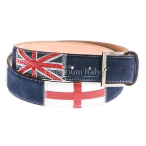 Cintura uomo in vera pelle RINO DOLFI mod. LONDON colore BLU Made in Italy