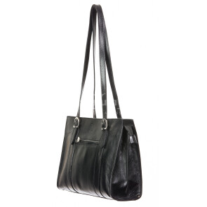 Borsa donna in vera pelle RINO DOLFI mod. MARINA, colore NERO, Made in Italy.