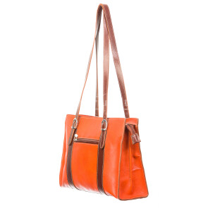 Borsa donna in vera pelle RINO DOLFI mod. MARINA, colore ARANCIO / MARRONE, Made in Italy.