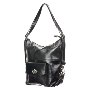 Borsa zaino donna in vera pelle RINO DOLFI mod. MARTA, colore NERO, Made in Italy.