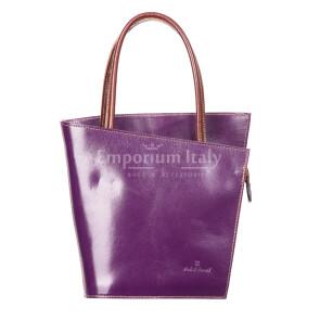 Borsa donna in vera pelle RINO DOLFI mod. MEG, colore VIOLA, Made in Italy.