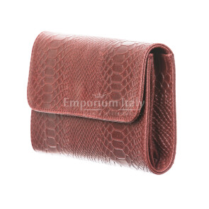 Borsa donna in vera pelle CHIARO SCURO mod. EMILIA, colore BORDO', Made in Italy.