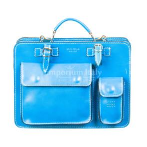 Cartella ufficio / lavoro in vera pelle MAESTRI mod. ALEX medium, colore AZZURRO, Made in Italy.