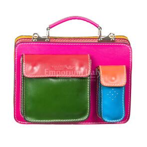 ELVI SMALL: офисный портфель / деловая сумка из натуральной кожи, MAESTRI, цвет МНОГОЦВЕТНАЯ, Made in Italy.