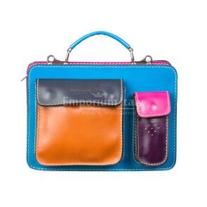 ELVI SMALL: офисный портфель / деловая сумка из кожи MAESTRI, цвет МНОГОЦВЕТНАЯ, Made in Italy.