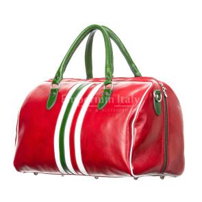 Borsa da viaggio uomo / donna in vera pelle, bandiera Italiana RINO DOLFI mod. TIMAVO, colore ROSSO, Made in Italy.
