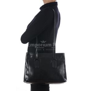 Borsa a spalla da donna in vera pelle MINA SMALL, colore NERO, RINO DOLFI, MADE IN ITALY