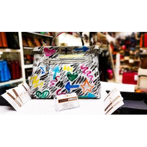 Borsa donna in vera pelle, dipinta a mano DILETTA-LIMITED EDITION, colore BIANCO, EMPORIO TITANO, MADE IN ITALY