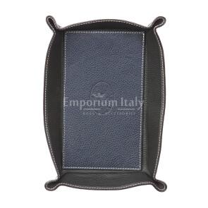 Porta oggetti uomo / donna in pelle EMPORIO TITANO mod HARRY2, colore BLU / NERO, Made in Italy.