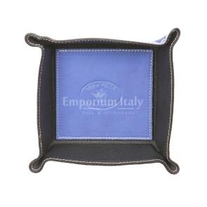 Porta oggetti uomo / donna in pelle EMPORIO TITANO mod HARRY, colore AZZURRO / NERO, Made in Italy.