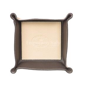 Porta oggetti uomo / donna in pelle EMPORIO TITANO mod HARRY, colore BEIGE / TESTA DE MORO, Made in Italy.