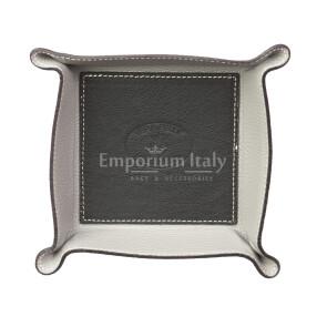 Porta oggetti uomo / donna in pelle EMPORIO TITANO mod HARRY, colore NERO / GRIGIO, Made in Italy.