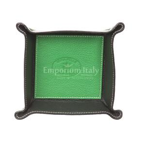 Porta oggetti uomo / donna in pelle EMPORIO TITANO mod HARRY, colore VERDE / NERO, Made in Italy.