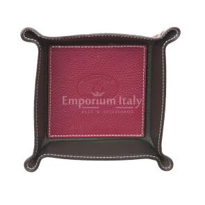 Porta oggetti uomo / donna in pelle EMPORIO TITANO mod HARRY, colore BORDEAUX / NERO, Made in Italy.