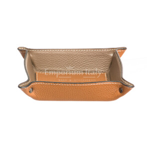 Porta oggetti uomo / donna in pelle EMPORIO TITANO mod HARRY, colore MIELE / TAUPE, Made in Italy.