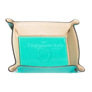 Кошелёк-перчатка  мужская / женская из кожи EMPORIO TITANO мод. HARRY, цвет БИРЮЗОВЫЙ / БЕЖЕВЫЙ, Made in Italy.