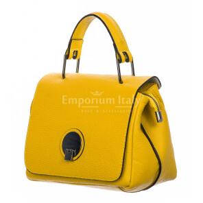 Borsa donna in vera pelle, DELIA REI, mod EVELIN colore giallo, Made in Italy.
