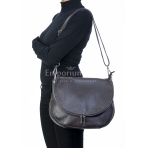 Borsa donna in vera pelle, DELIA REI, mod LETIZIA colore marrone, Made in Italy.