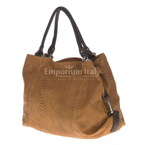 Borsa donna in vera pelle CHIARO SCURO mod. DIVA colore MARRONE Made in Italy