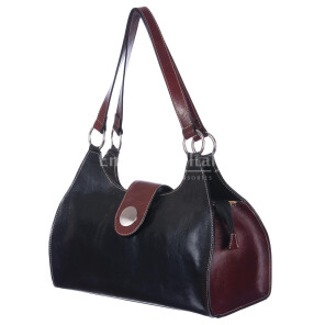 Borsa donna in vera pelle RINO DOLFI mod. LUNA big colore NERO TESTA DI MORO Made in Italy