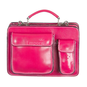 Borsa in vera pelle MAESTRI mod. ALEX small colore FUCSIA Made in Italy
