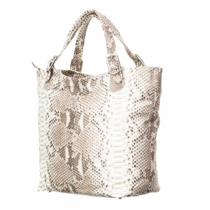 Borsa donna in pelle SANTINI mod. KATY, colore BEIGE, Made in Italy.