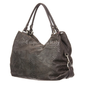 Borsa donna in vera pelle CHIARO SCURO mod. DIVA, colore MARRONE, Made in Italy.