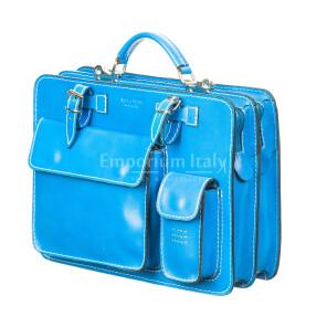 офисный портфель /деловая сумка из кожи MAESTRI мод. ALEX maxi, цвет ГОЛУБОЙ, Made in Italy.