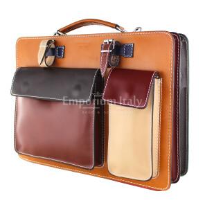 ELVI MAXI: офисный портфель / деловая сумка из кожи MAESTRI цвет МНОГОЦВЕТНАЯ, Made in Italy.