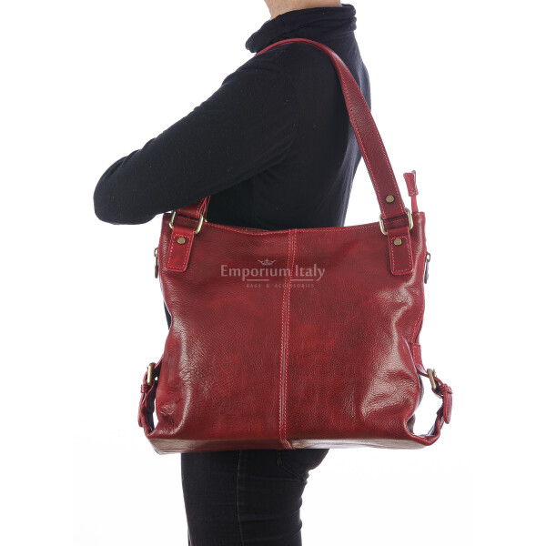 Genuine leather shoulder bag for woman ANTONELLA, colour RED, RINO DOLFI, MADE IN ITALY