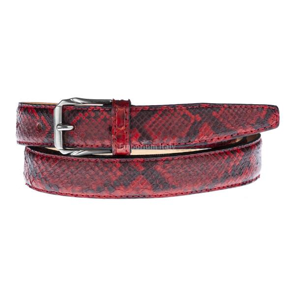 Cintura donna VARESE, vera pelle pitone certificato CITES, colore ROSSO/NERO, RINO DOLFI, Made in Italy