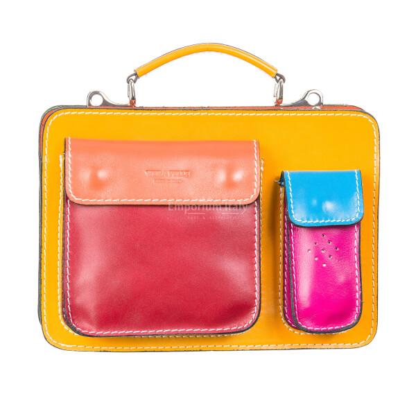 Borsa unisex in vera pelle ELVI SMALL  colore, MULTICOLORE, Made in Italy. Misura ideale per tablet di media dimensione/ agende di lavoro.