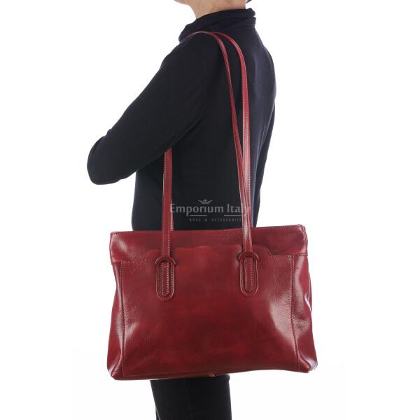 Borsa a spalla da donna in vera pelle MINA MAXI, colore ROSSO, RINO DOLFI, MADE IN ITALY