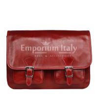 Tracolla da uomo, in cuoio, mod RUDOLF colore : ROSSO, Made in Italy.