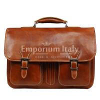 Cartella ufficio / lavoro uomo e donna in vera pelle MAESTRI mod. AMIR colore MIELE Made in Italy.