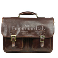 Cartella ufficio / lavoro uomo e donna in vera pelle MAESTRI mod. AMIR colore TESTA DI MORO, Made in Italy.