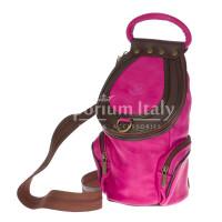 Borsa zaino donna in vera pelle MONTE HALLA, colore FUCSIA/TESTA MORO, EMPORIO TITANO, MADE IN ITALY