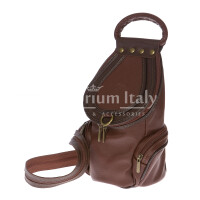 Borsa zaino donna in vera pelle MONTE HALLA, colore MARRONE, EMPORIO TITANO, MADE IN ITALY