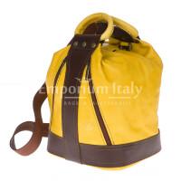 Borsa zaino donna in vera pelle EMPORIO TITANO mod. GRIGNA colore GIALLO Made in Italy.