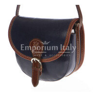 Borsa donna in vera pelle MAESTRI mod. RAMONA colore BLU Made in Italy