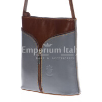 Borsa donna in vera pelle MAESTRI mod. SONIA colore GRIGIO / MARRONE, Made in Italy
